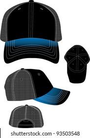 blue sprayed mesh hat