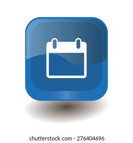 Blue square button with white calendar sign, vector design for website