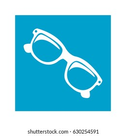 blue square frame with sunglasses icon vector illustration