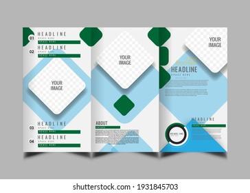 Blue Square Geometric Vector Business Trifled Leaflet Brochure Flyer Template Flat Design Set.