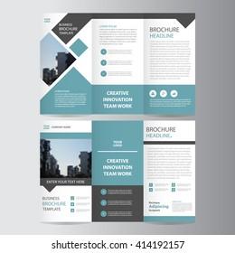 blue square geometric vector business trifold Leaflet Brochure Flyer template flat design set