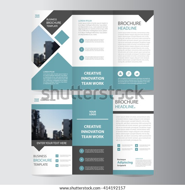 blue square geometric vector business trifold Leaflet Brochure Flyer template flat design set