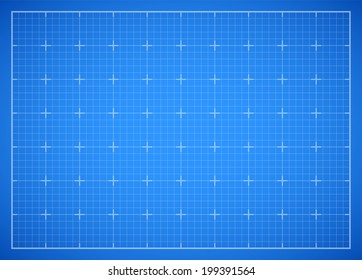 Blue square grid backdrop, blueprint vector background illustration