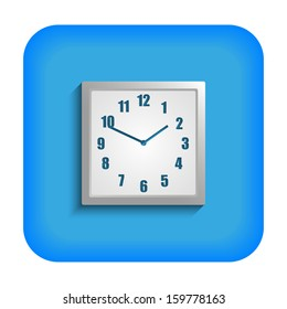 Blue square icon with the image of hours