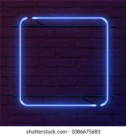 Blue square neon sign. Vector realistic neon rectangle on brick wall.