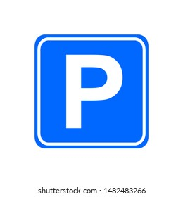 Blue square parking sign design with letter P. Parking sign icon in trendy flat style design. Vector illustration.