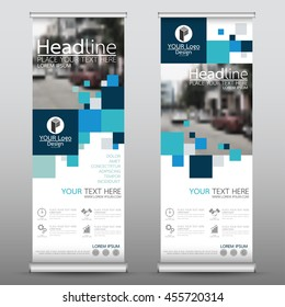 Blue square roll up business banner design vertical template vector, cover presentation abstract geometric background, modern publication display and flag-banner, layout in rectangle size.