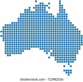 Blue square shape Australia map.