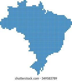 Blue square shape Brazil map on white background, vector illustration.