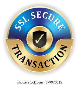 Blue ssl secure transaction badge with gold border