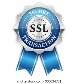 Blue ssl secure transaction rosette with silver border on white background