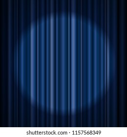 Blue stage curtain realistic vector illustration for theater or opera scene backdrop, concert grand opening or cinema premiere. Red curtains or portiere drapes for ceremony performance design template