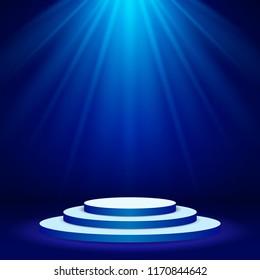 Blue Stage podium spotlight illuminated scene. Vector Illustration