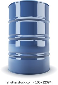Blue standard metal barrel isolated on white background realistic vector illustration. No transparency.