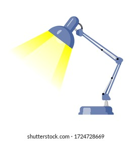 Blue standing flexible lamp light for table. Flat illustration of a vector icon of an office Desk lamp isolated on a white background.