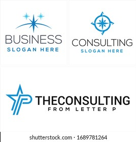 Blue star arrow compass icon south north west east and symbol initial logo design line vector suitable for business consulting firm management company travel agency adventure