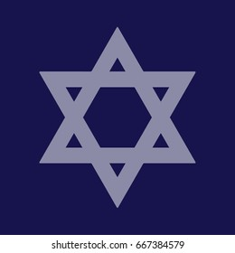 Blue Star of David vector icon