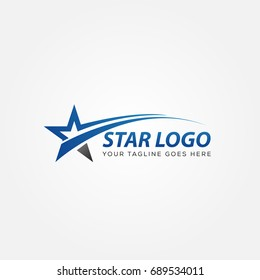 blue Star Logo Vector with Black Background