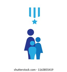 blue star medal, single mother with kids, simple icon