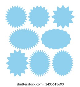 Blue Starburst speech bubbles set, Bursting icon, Explosion illustration, star sticker vector