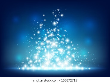 Blue starry background with sparkles.