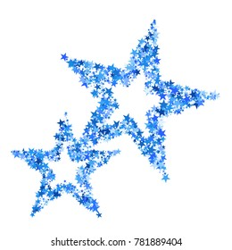 Blue Stars Background. Bright Blue Stars on a White Background. Modern Fashionable Background. Blue Stars Background for Wrapping Paper, Postcards, Banners, Prints. Abstraction.