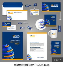 Blue stationery template design with digital planet. Documentation for business.