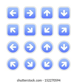 Blue sticker icon with arrow sign. Rounded square and circle buttons with gray shadow on white background. Vector illustration design element save in 10 eps