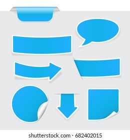 Blue stickers on background. Vector 3d illustration