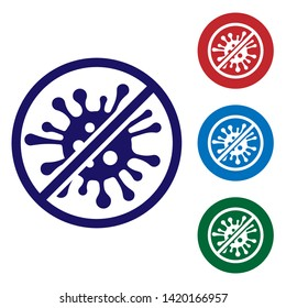 Blue Stop virus, bacteria, germs and microbe icon isolated on white background. Antibacterial and antiviral defence, protection infection. Set color icon in circle buttons. Vector Illustration
