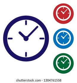 Blue Stopwatch icon isolated on white background. Time timer sign. Vector Illustration