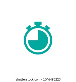 Blue stopwatch with quater. flat icon isolated on white. Fast time stop watch, limited offer, deadline symbol. Vector illustration. Clock pictogram.