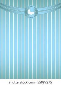Blue striped baby stroller background - vector