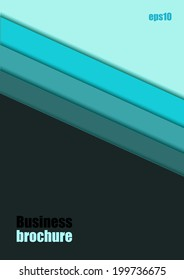 Blue striped background, Business brochure template, Vector