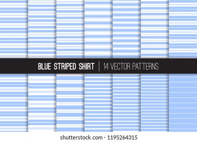 Blue Striped Shirt Seamless Vector Patterns. Blue and White Stripes Textile Prints. Trendy Fashion. Variable Thickness Lines. Pattern Tile Swatches Included.