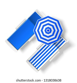 Blue striped sun umbrella near beach lounger top view. Seaside resort relaxation and suntanning elements. Summer holiday vacation. seashore pool hotel rest chair , sun protecting parasol. Vector