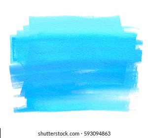 Blue striped watercolor wet brush paint isolated vector splash on white background for web, tag, print. Abstract aquarelle sea color hand drawn paper texture line daub element for text design, card
