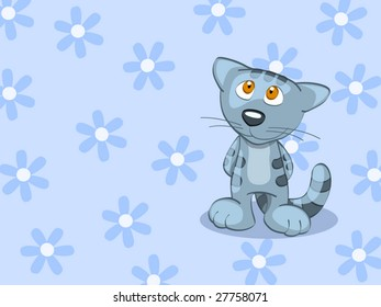 blue stripped british cat on background (editable layers)