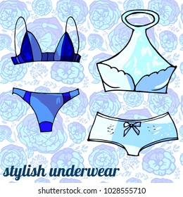 blue stylish sexy underwear collection