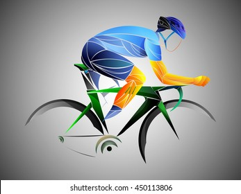 blue stylized cyclist, athlete, cyclist stylized vector, road cycling, cycling tour, cycling track, bicycle