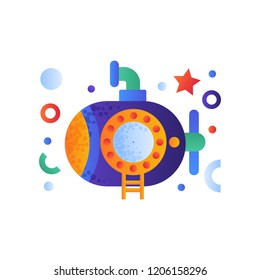 Blue submarine with periscope, cute underwater boat vector Illustration on a white background