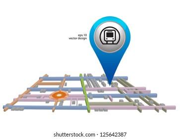 blue subway icon pointer on white