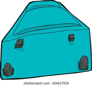 Blue suitcase with wheels laying down over white
