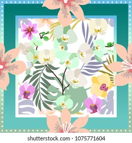Blue summer tropical garden. Squared silk scarf with orchids, palm leaves and blooming flowers on white background.