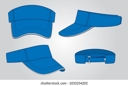 Blue sun visor cap for vector (Front,Back,Perspective and Back views)