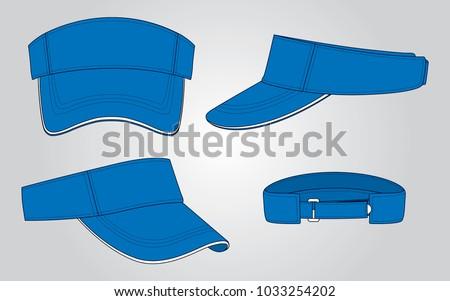 Blue Sun Visor Cap Vector Front Back Perspective Stock Vector ... 0292d327efd