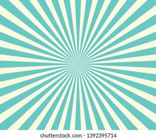 Blue Sunburst Pattern Background. Rays. Radial. Abstract. Retro Vintage Vector Illustration