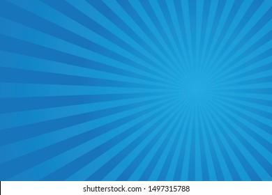 Blue Sunburst Pattern Background. vector illustration