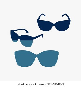 Blue Sunglasses icon, vector illustration