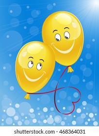 Blue sunny background with yellow happy balloons. This is concept for wedding anniversary. Vector illustration.